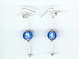 Blue Silver Foil Earrings - Ref: 863