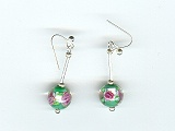 Green Silver Foil Flower Earrings - Ref: 862
