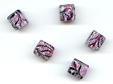 Pink Marble Cube Beads